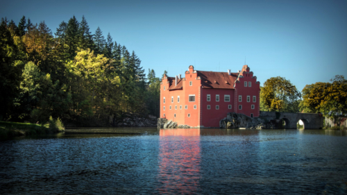 Cervena Lhota château.This château is on a rocky island in the middle of a lake