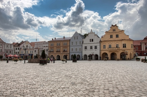 Typical czech square, this one is in Pelhrimov town