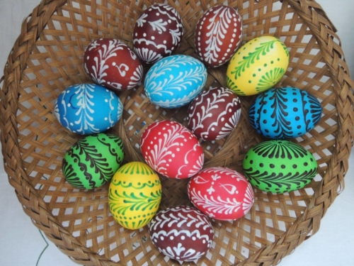 Easter eggs, boiled and painted eggs for carollers.