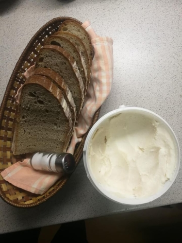 Sliced bread with spread